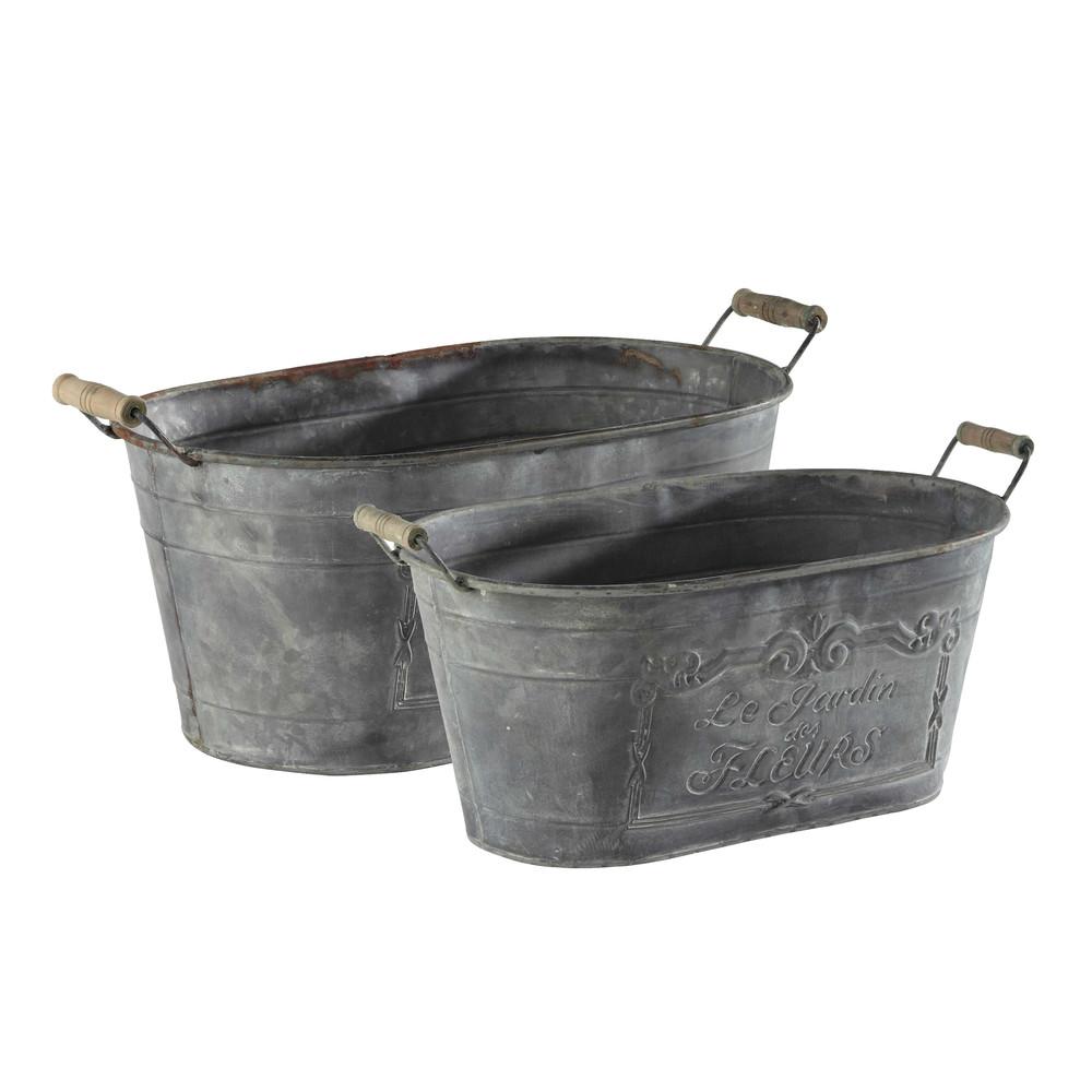2 bassines effet zinc en métal H 28 cm (photo)