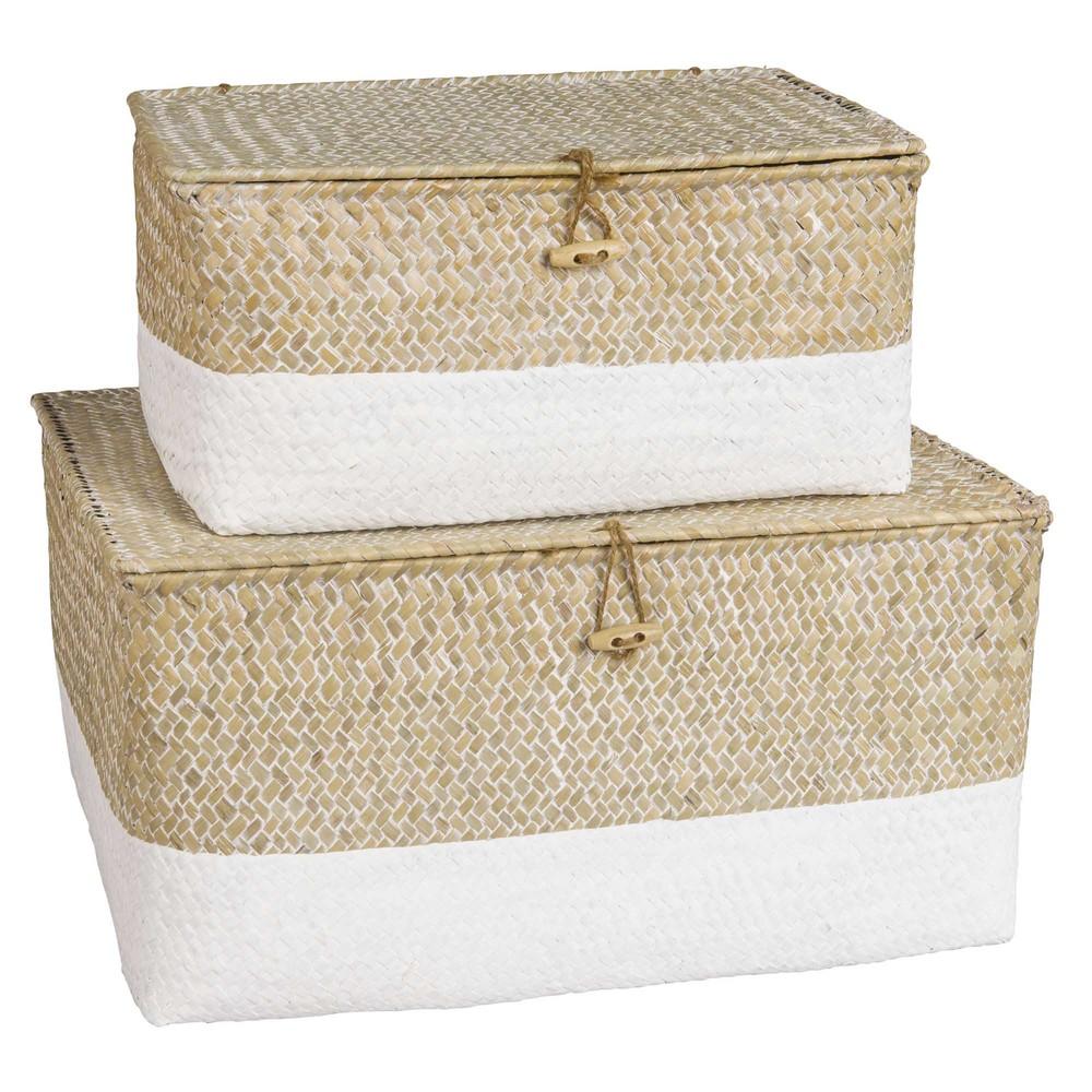 2 boîtes en vannerie blanchie