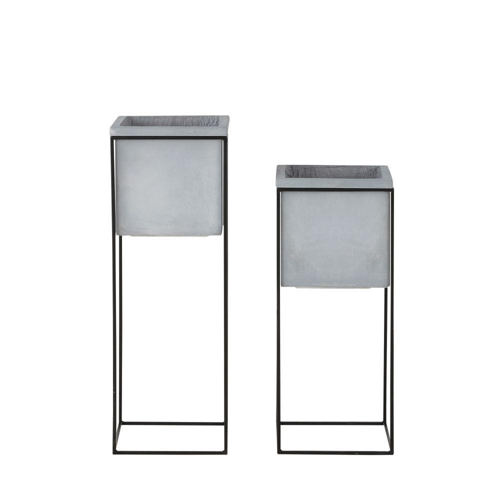 2 cache-pots gris clair et pieds en métal noir H77