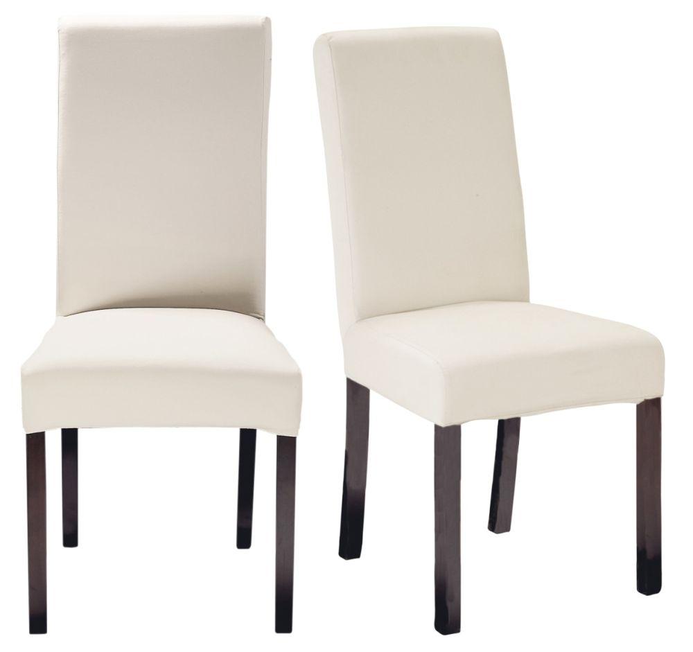 2 chaises à housser en pin teinté wengé
