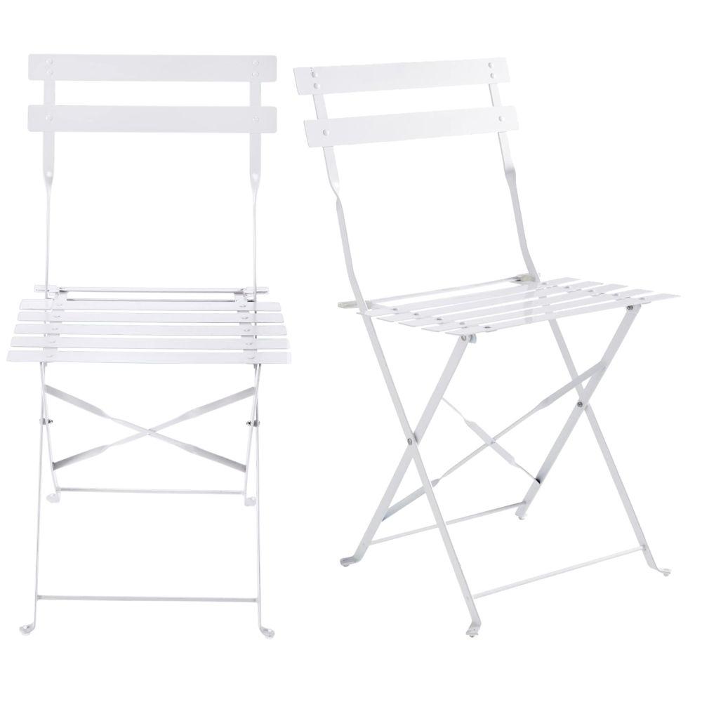2 chaises de jardin pliantes en métal époxy blanc H80