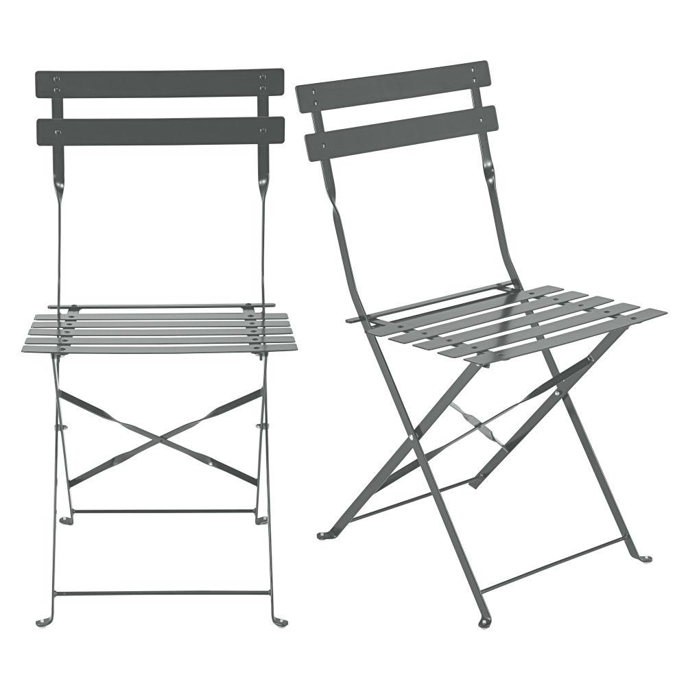 2 chaises de jardin pliantes en métal époxy gris H80