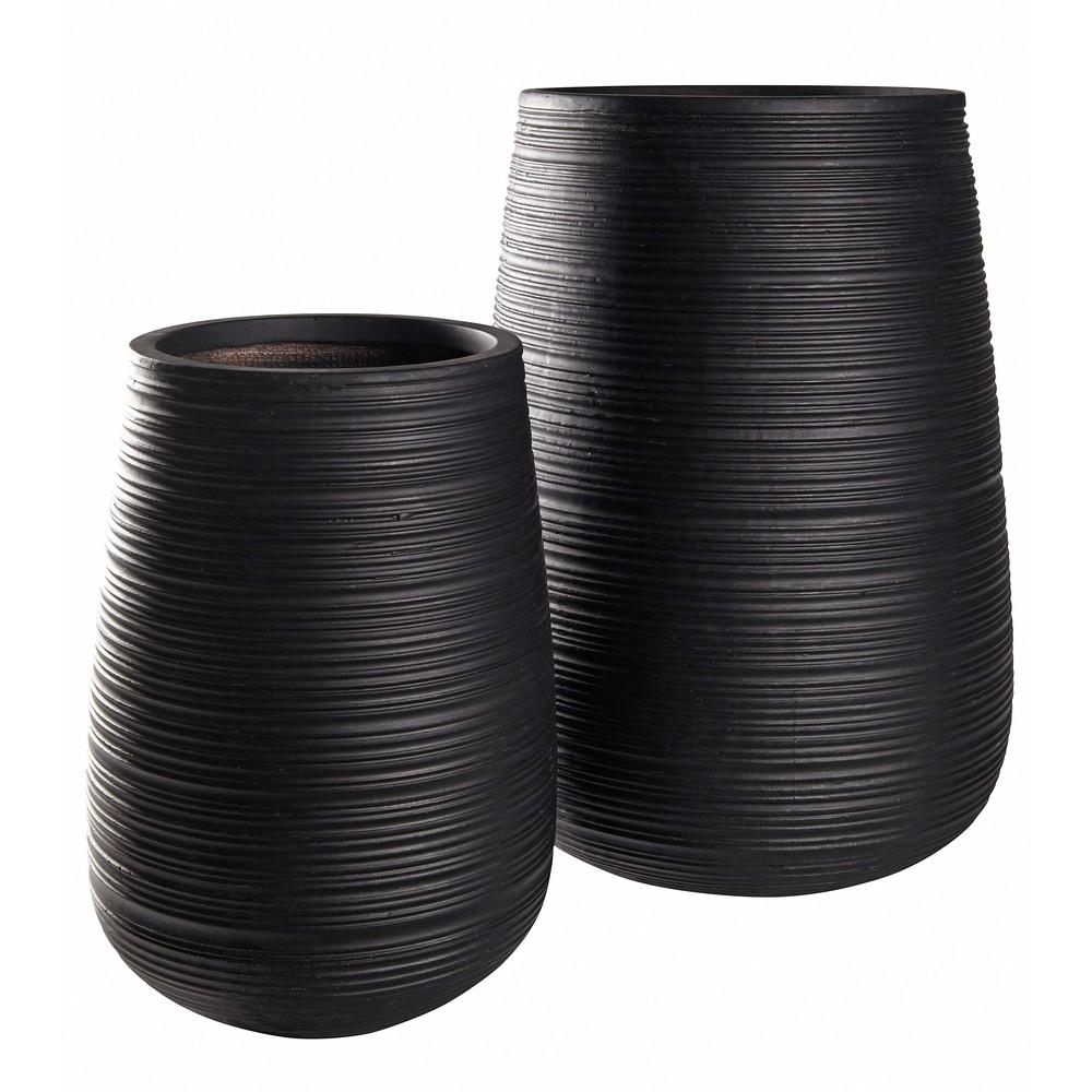 2 pots de jardin rainurés noirs H64