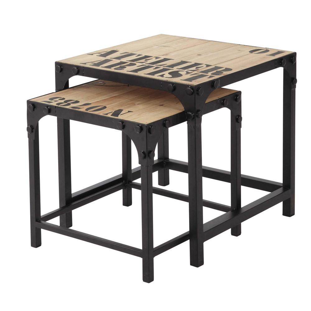 2 tables basses indus en sapin et métal