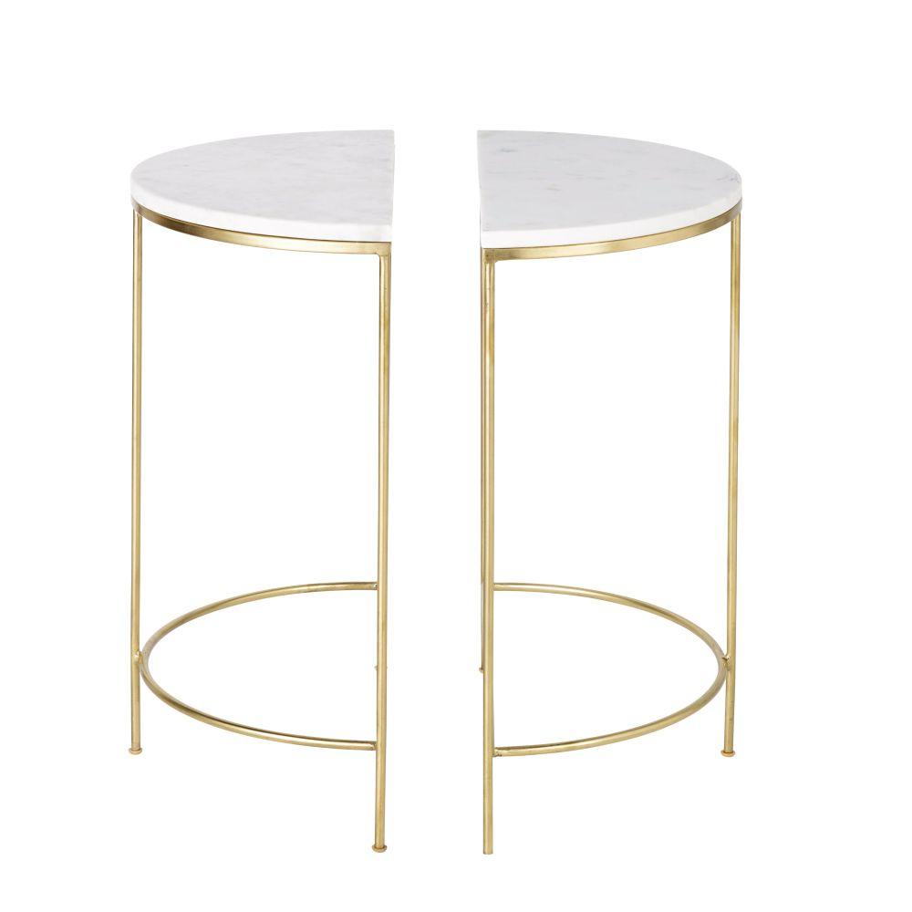 2 tables de chevet en métal doré et marbre blanc (photo)