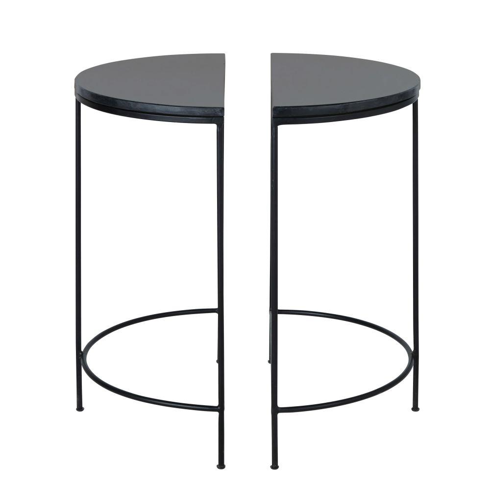 2 tables de chevet en métal et marbre noirs (photo)