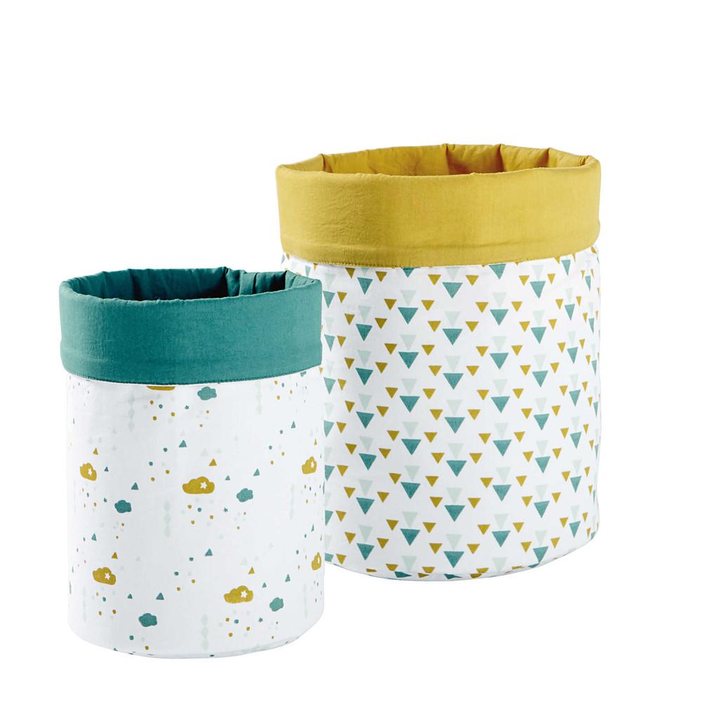 2 vide-poches en coton jaune/vert H 25 et H 30 cm