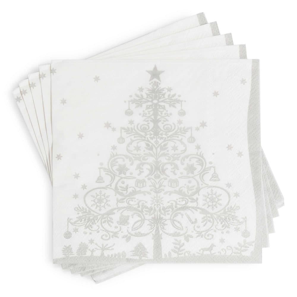 20 serviettes en papier imprimé argenté