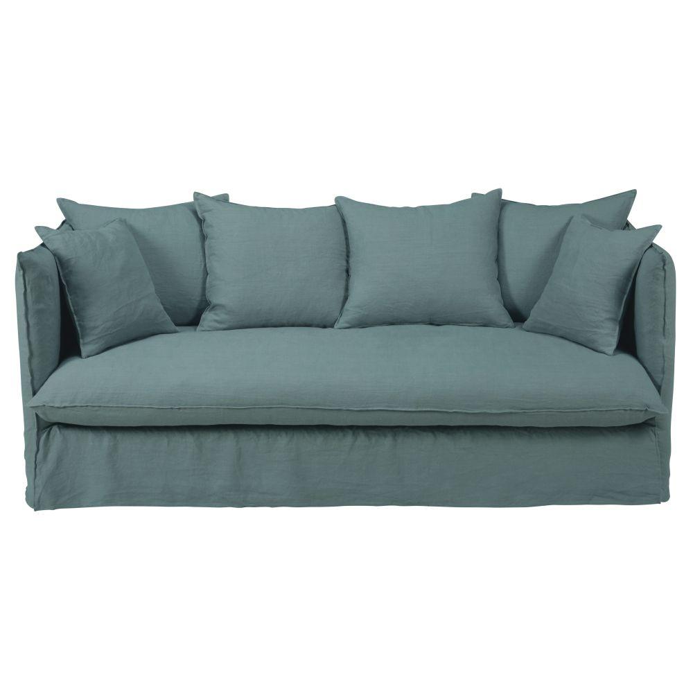 3/4-Sitzer-Schlafsofa mit seladonblauem Leinenbezug und Matratze 10 cm