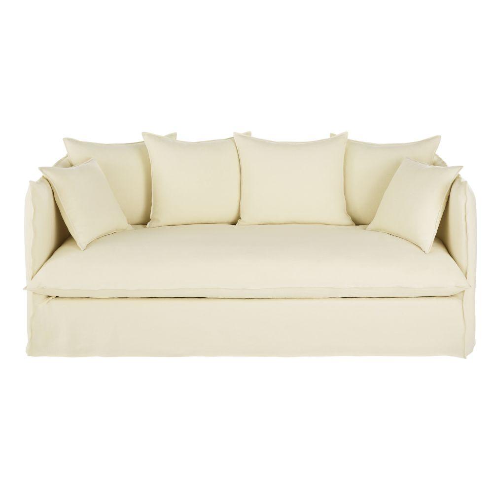 3/4-Sitzer-Sofa mit dickem, elfenbeinfarbenem Leinenbezug im Used-Look