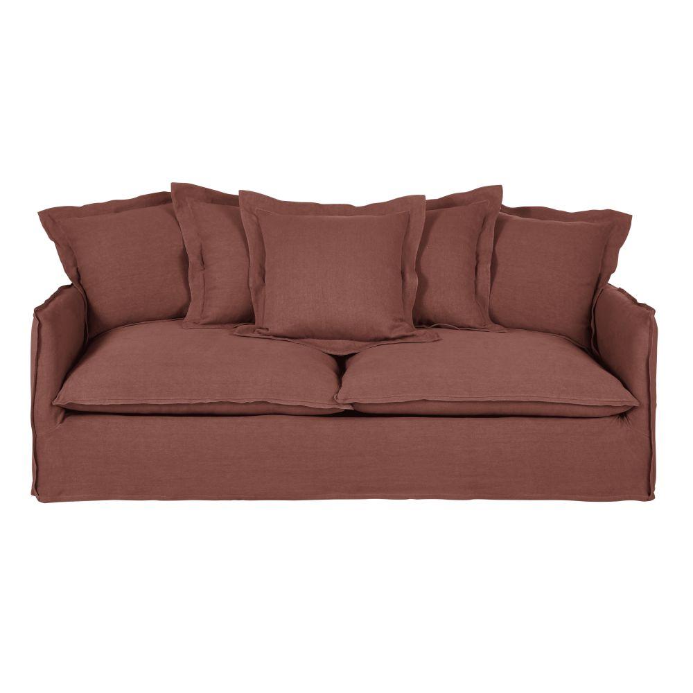 3/4-Sitzer-Sofa mit dickem rhabarberrotem Leinenbezug