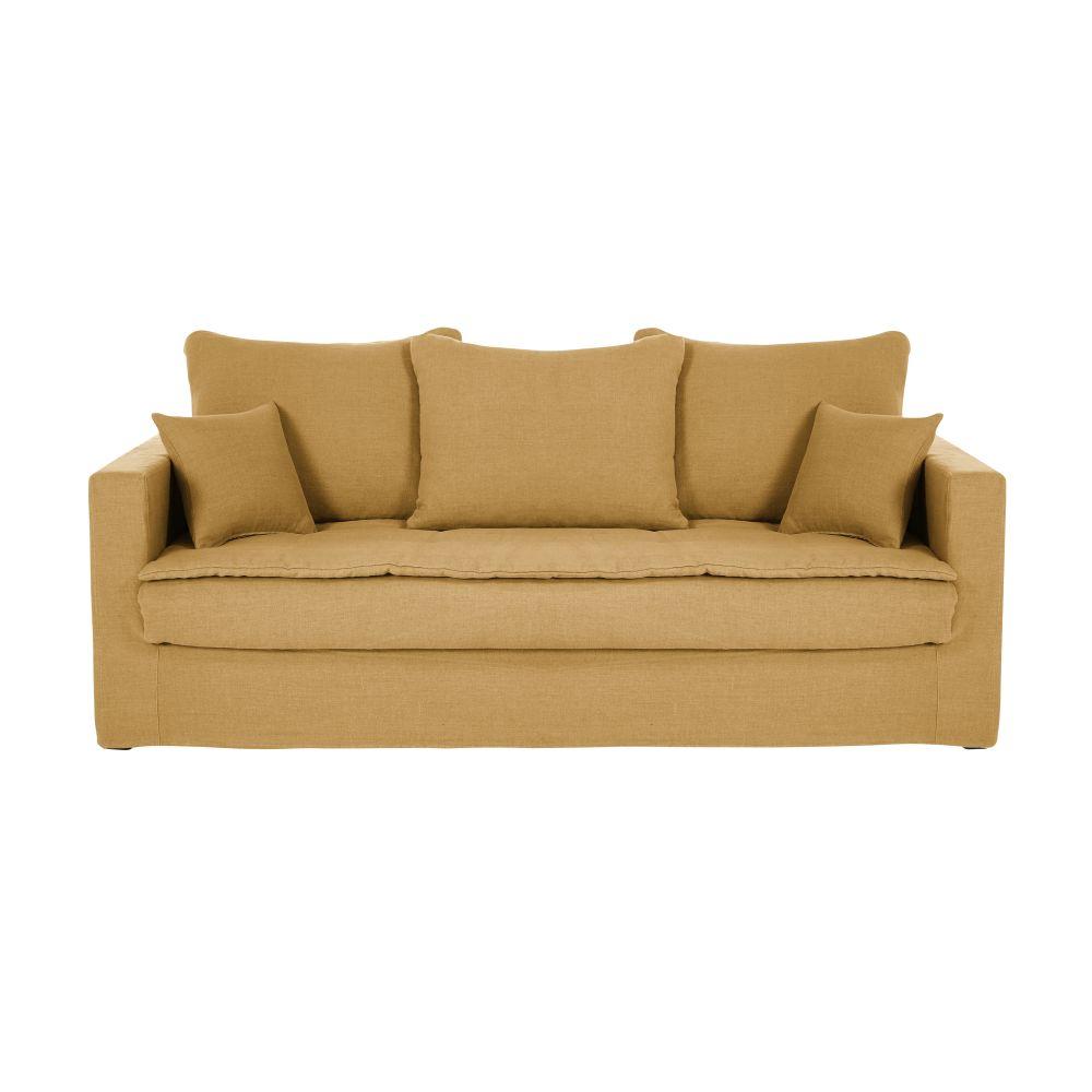 3/4-Sitzer-Sofa mit ockerfarbenem Leinenbezug