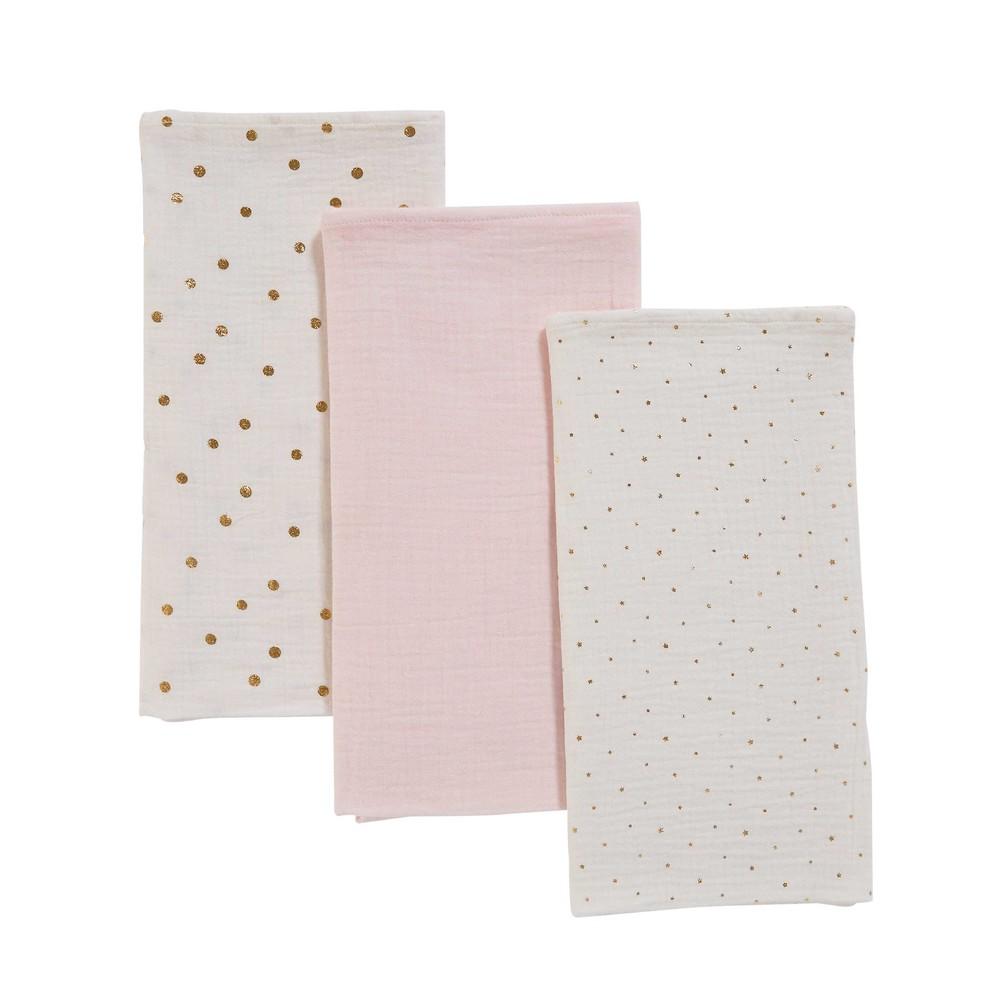 3 Babywindeln aus weiß-rosa Baumwolle
