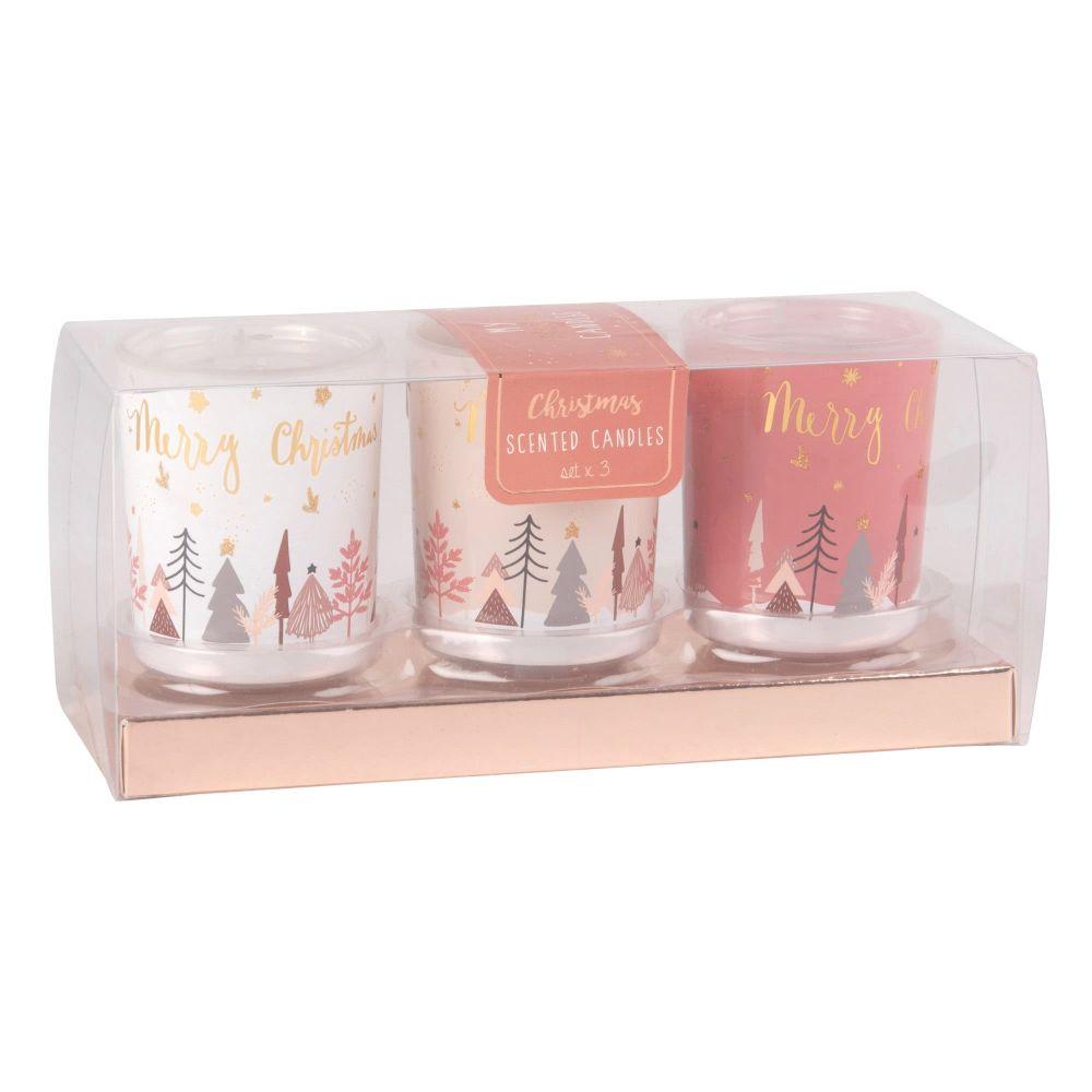 3 bougies de Noël parfumées en verre