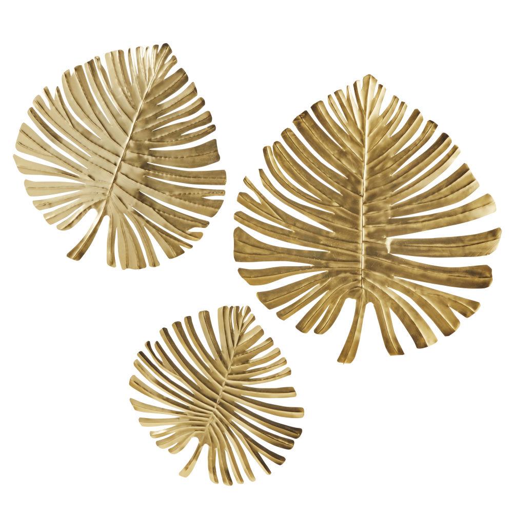 3 déco murales feuilles en métal doré 70x76