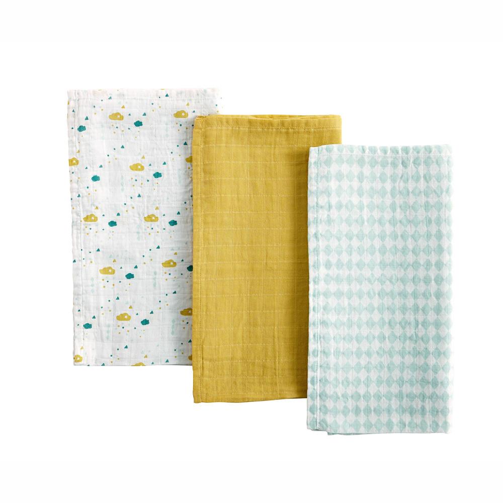 3 langes bébé en coton blanc, bleu et jaune moutarde