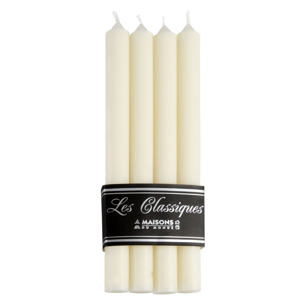 4 bougies longues blanches H 28 cm