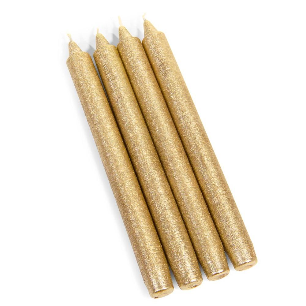 4 bougies longues dorées