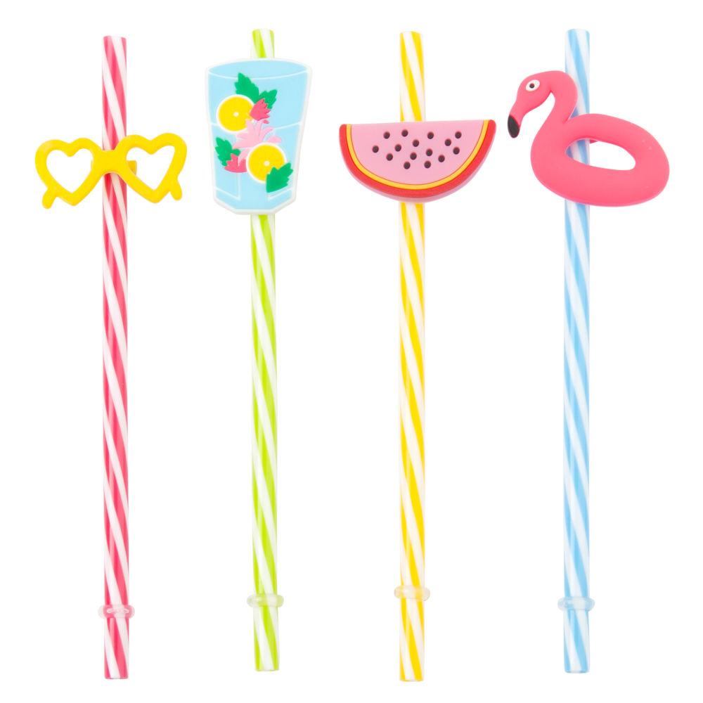 4 pailles motifs à rayures multicolores
