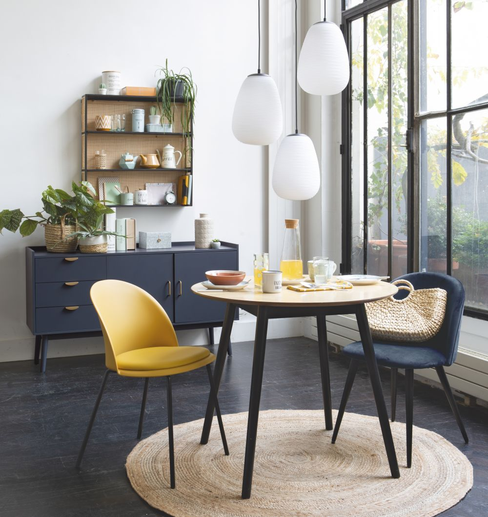 Photo of 4-person two-tone round dining table d90cm