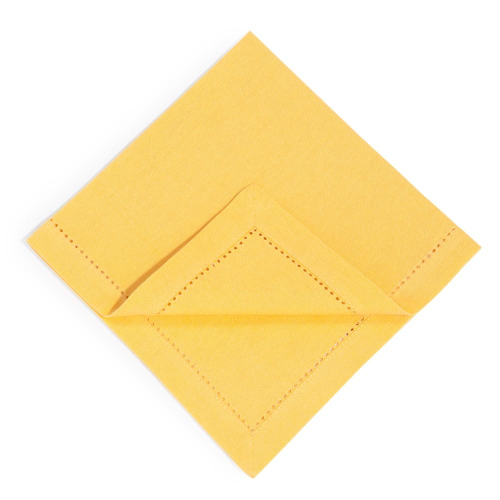 4 serviettes en coton jaune moutarde 40 x 40 cm