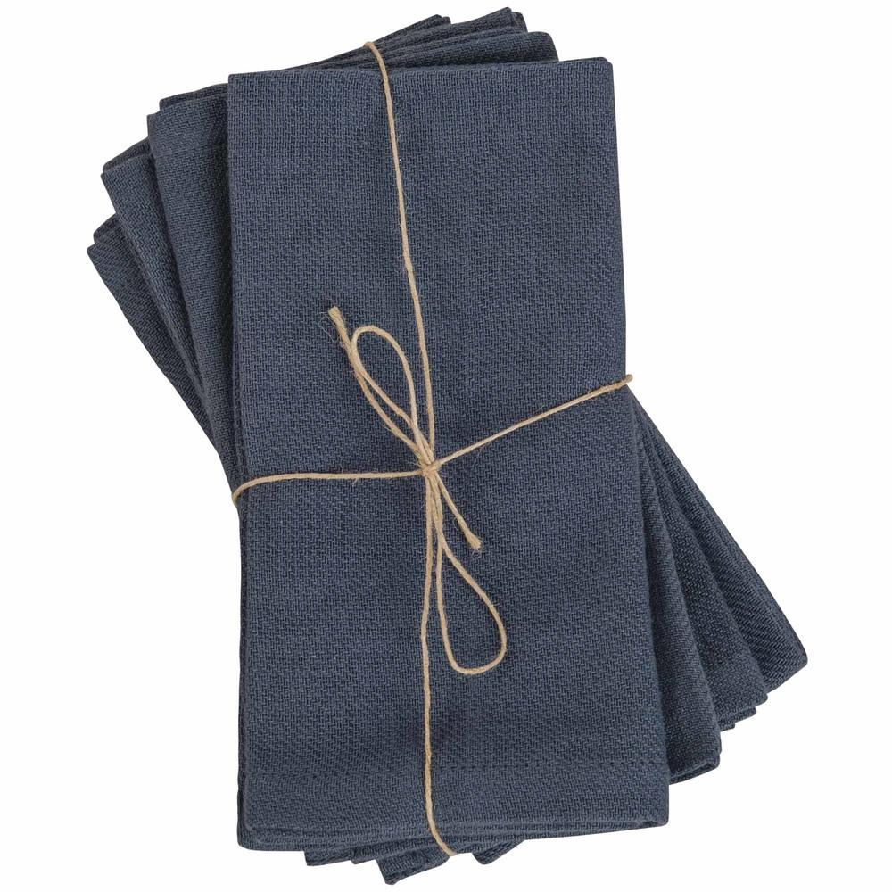 4 serviettes en coton lavé bleu 40x40