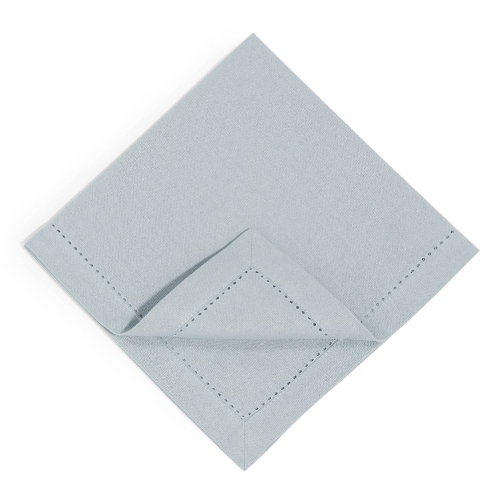 4 serviettes unies en coton bleues 40 x 40 cm