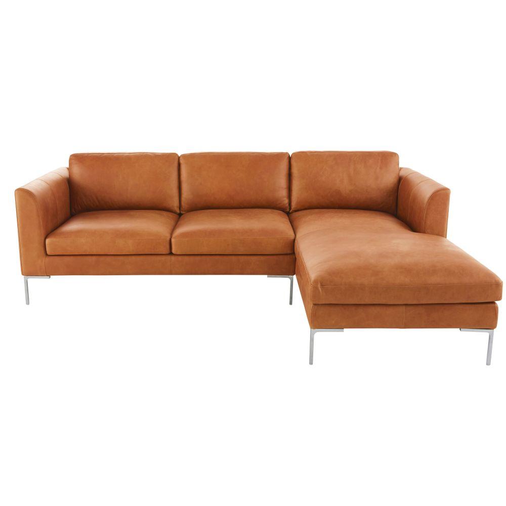 4-Sitzer-Ecksofa mit Ecke rechts und kamelfarbenem Lederbezug