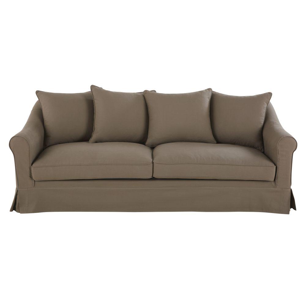 4-Sitzer-Sofa mit Baumwollbezug, taupefarben