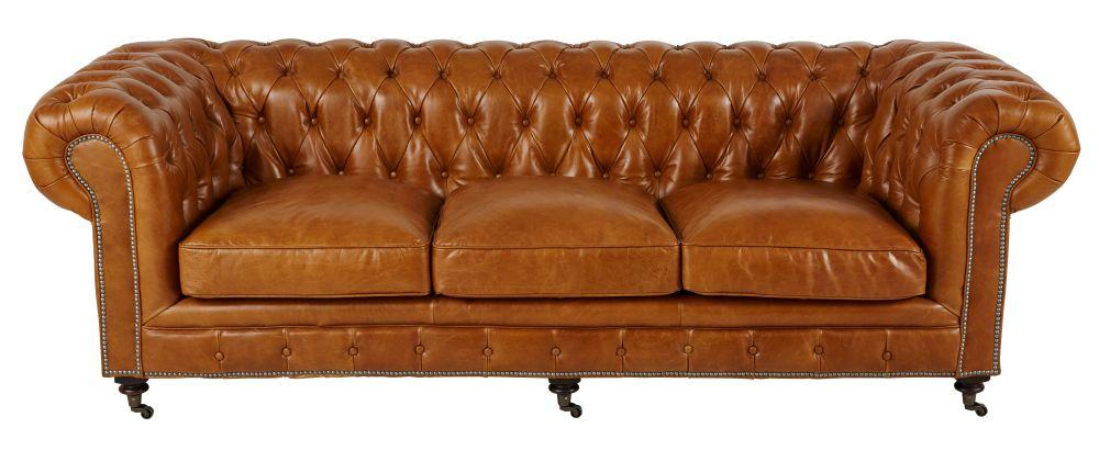 4-Sitzer-Sofa mit Capitonn�-Steppung, camelfarbener Lederbezug