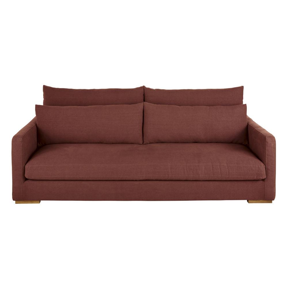 4-Sitzer-Sofa mit dickem rhabarberrotem Leinenbezug