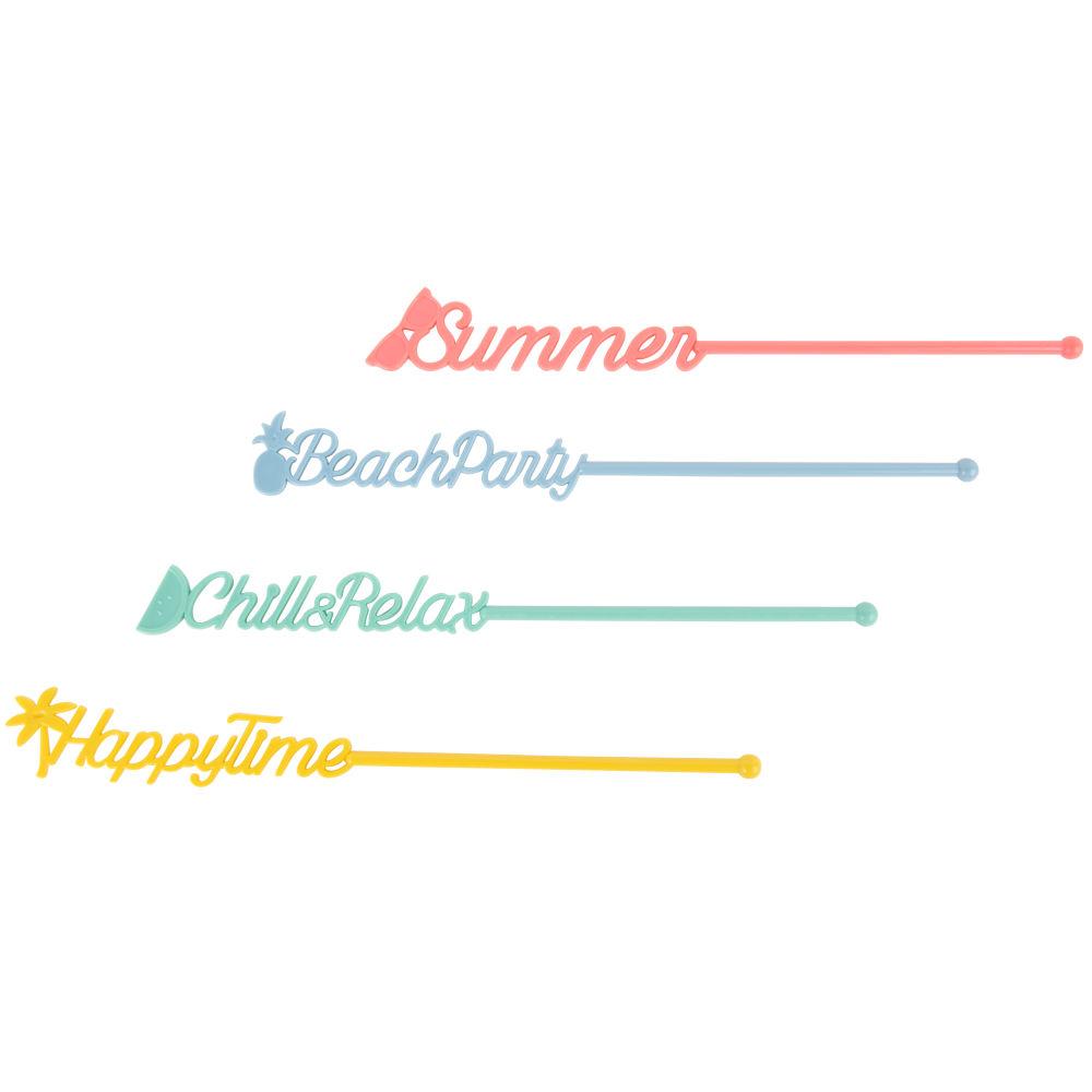 4 touilleurs multicolores