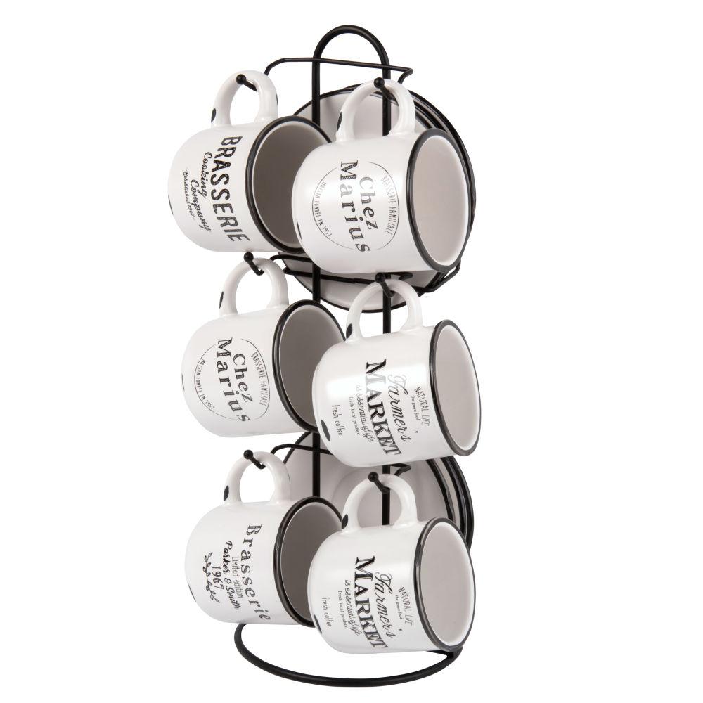 6 tasses et soucoupes en porcelaine avec support