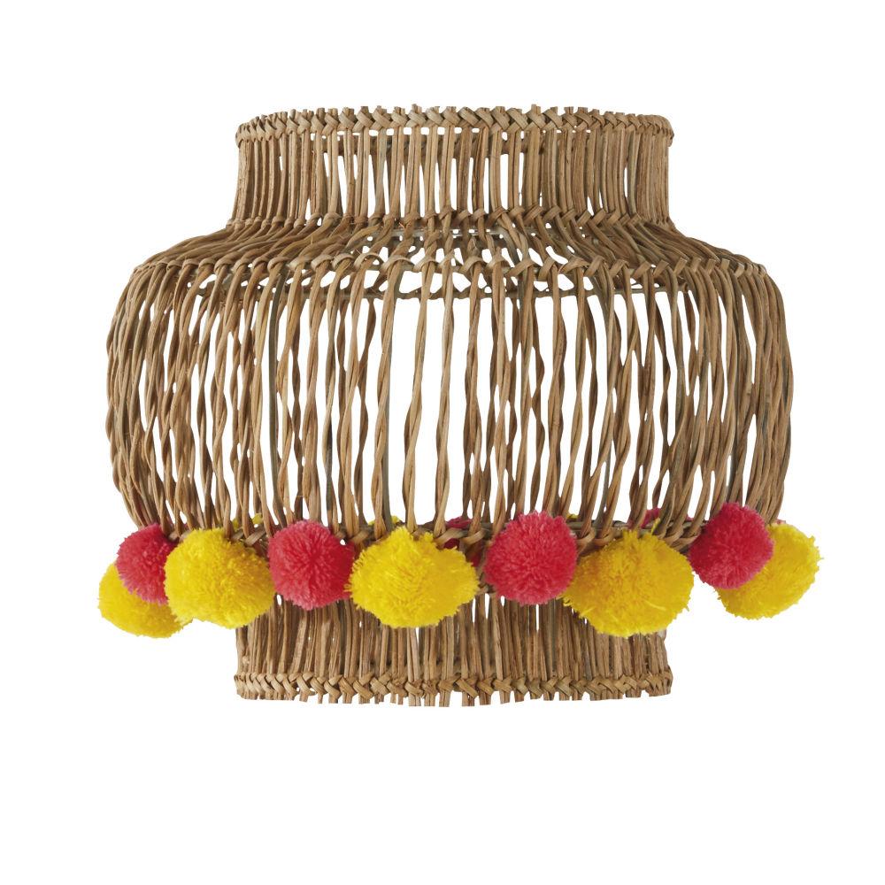 Abat-jour pour suspension en osier avec pompons roses et jaunes