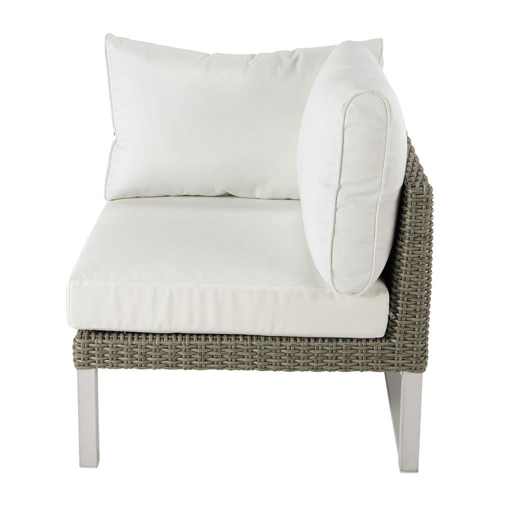 Accoudoir droit de canapé de jardin en résine tressée blanc (photo)