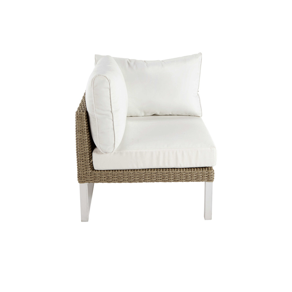 Accoudoir gauche de canapé de jardin en aluminium blanc (photo)