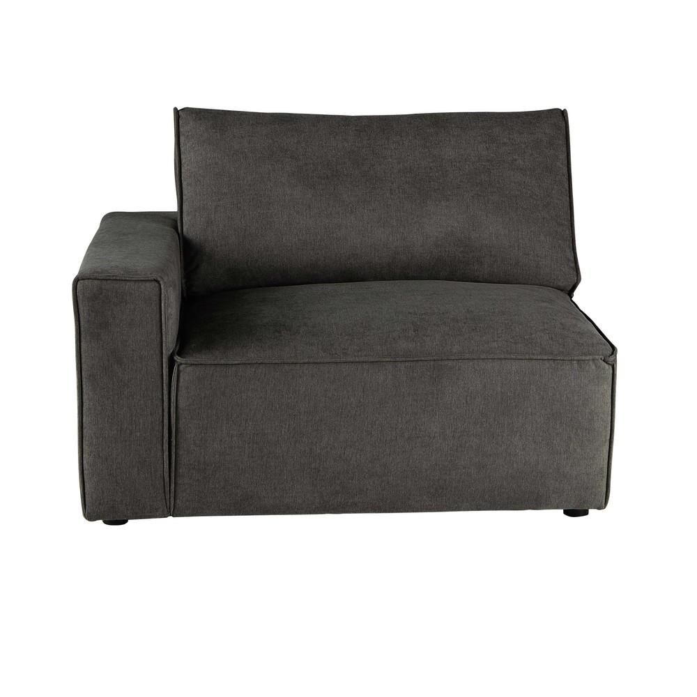 Accoudoir gauche pour canapé modulable taupe grisé