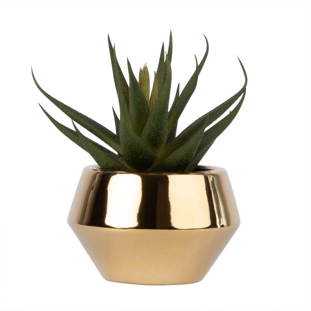 Aloe Vera artificielle et pot en céramique dorée