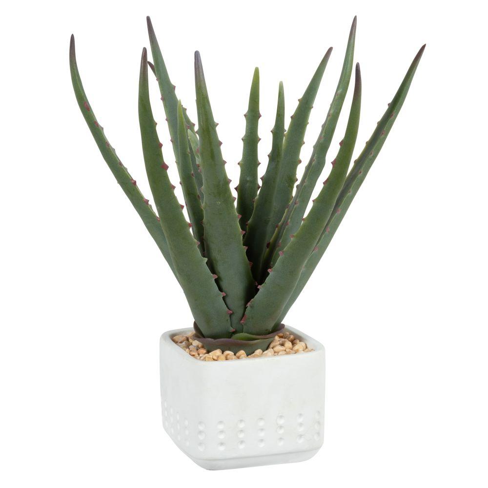 Aloe Vera artificielle pot en ciment blanc