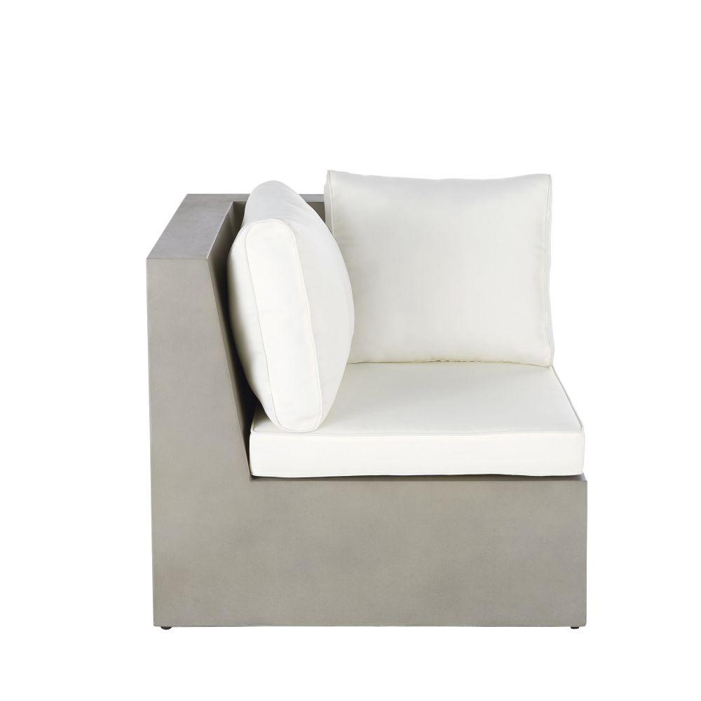 Angle de canapé de jardin en béton et coussins blancs (photo)
