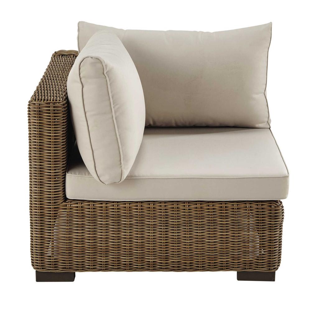 Angle de canapé de jardin en résine tressée et tissu beige sable (photo)