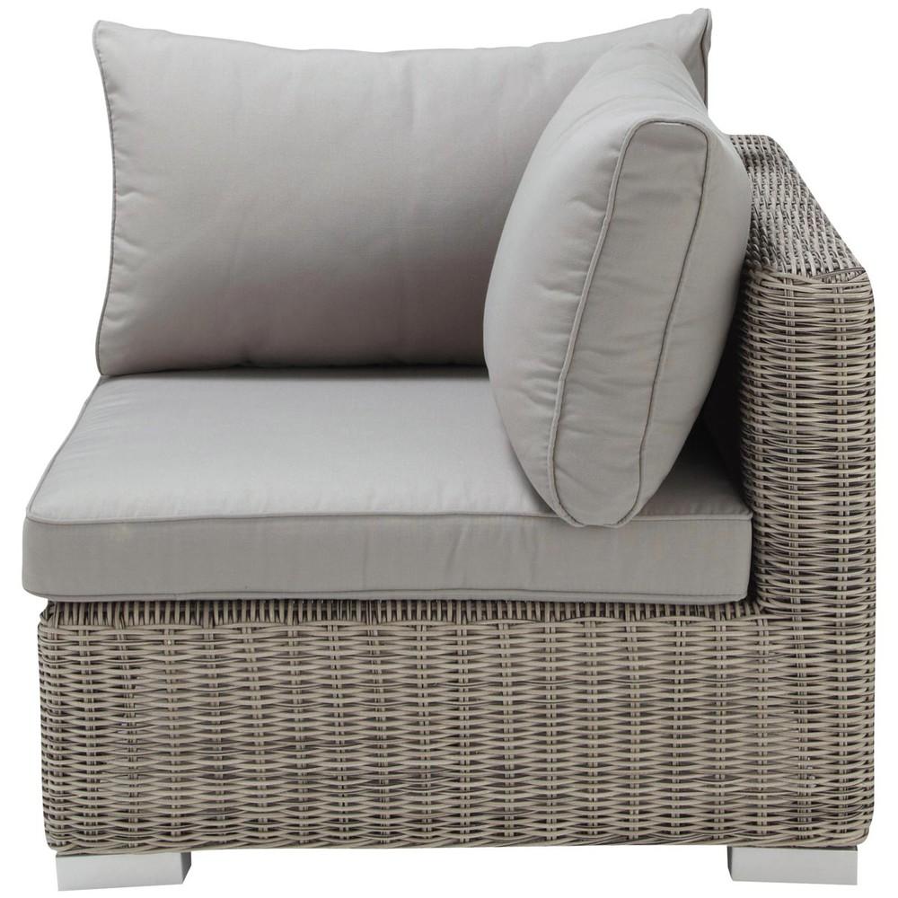 Angle de canapé de jardin en résine tressée grise
