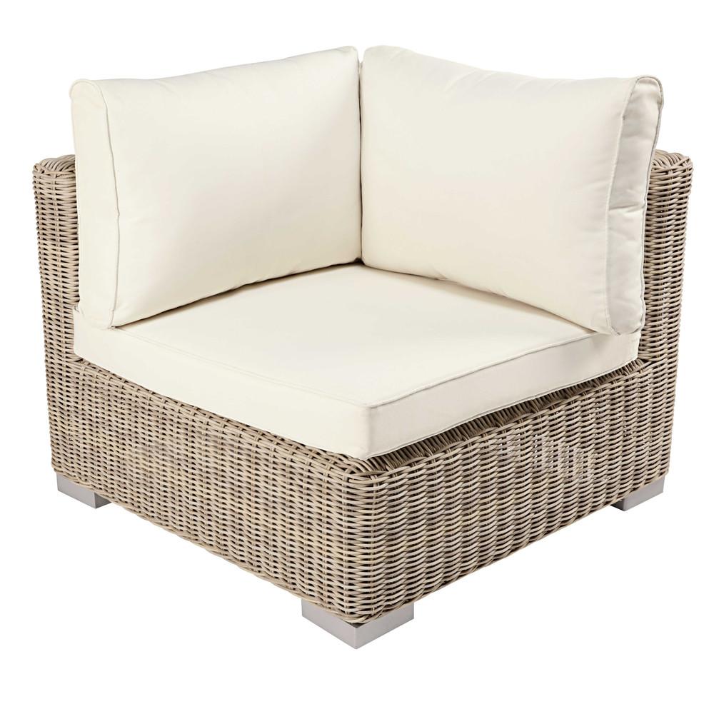 Angle pour canapé de jardin modulable beige et coussins écrus (photo)