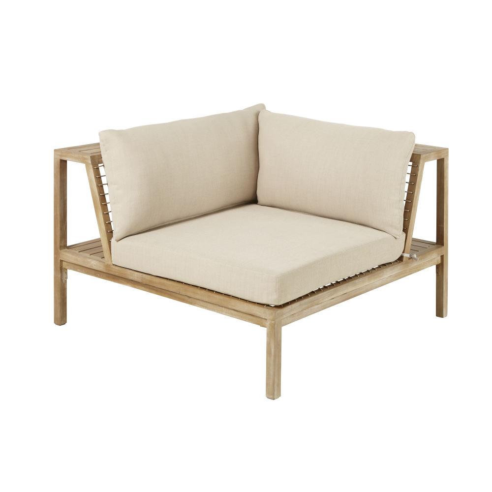 Angle pour canapé de jardin modulable en résine tressée et toile taupe clair