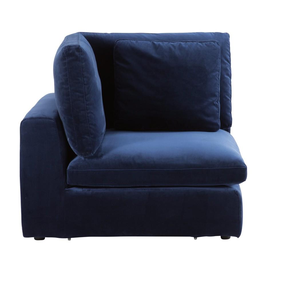 Angle pour canapé modulable en velours bleu nuit