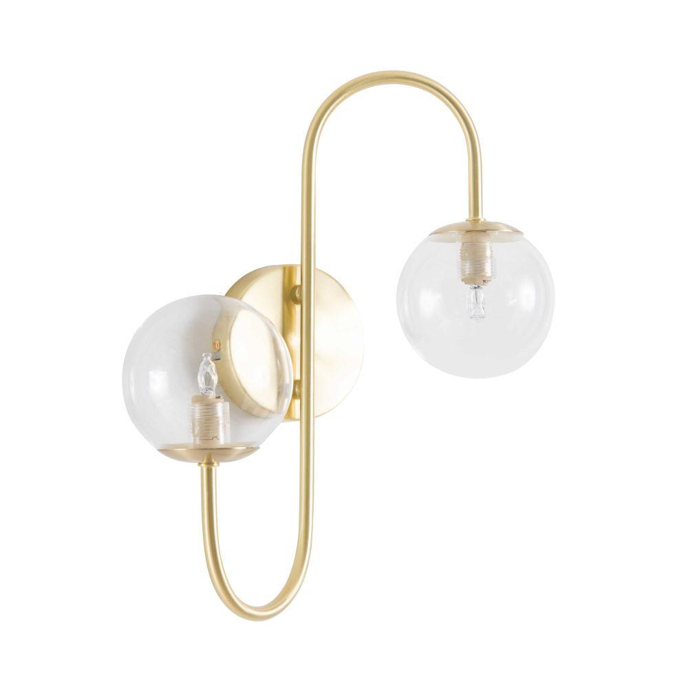 Applique 2 globes en verre et métal doré