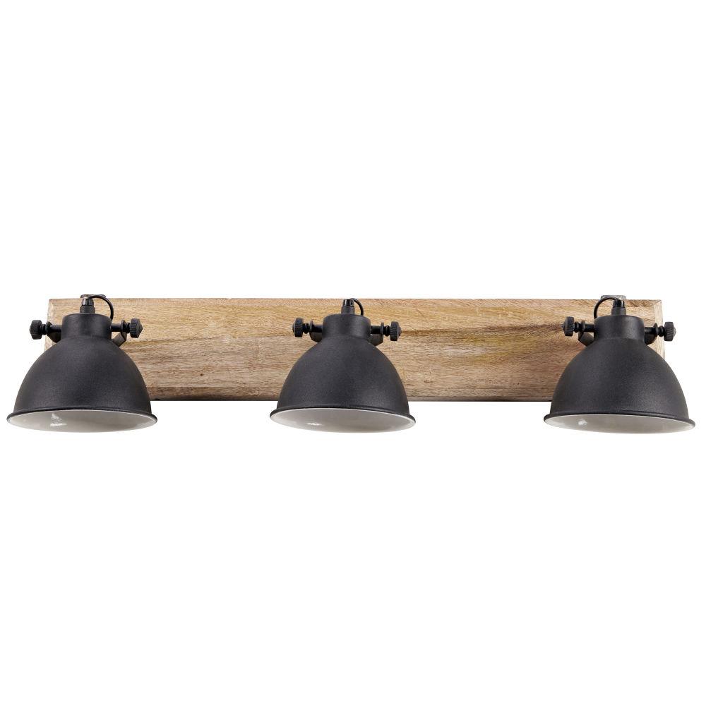 Applique 3 lampes en manguier et métal noir L.73cm