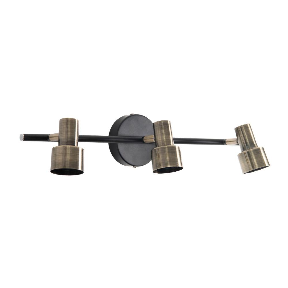 Applique 3 spots industrielle en métal noir et gris