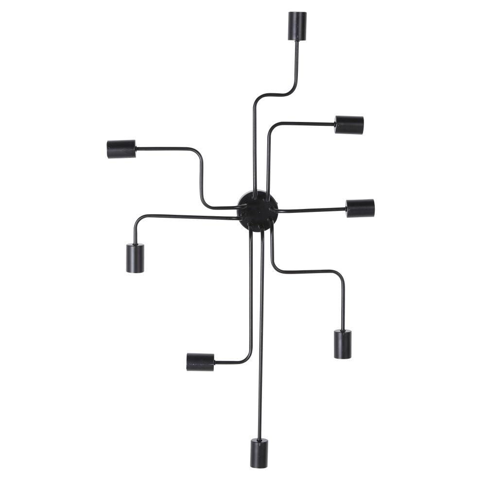 Applique con 8 portalampadine in metallo nero