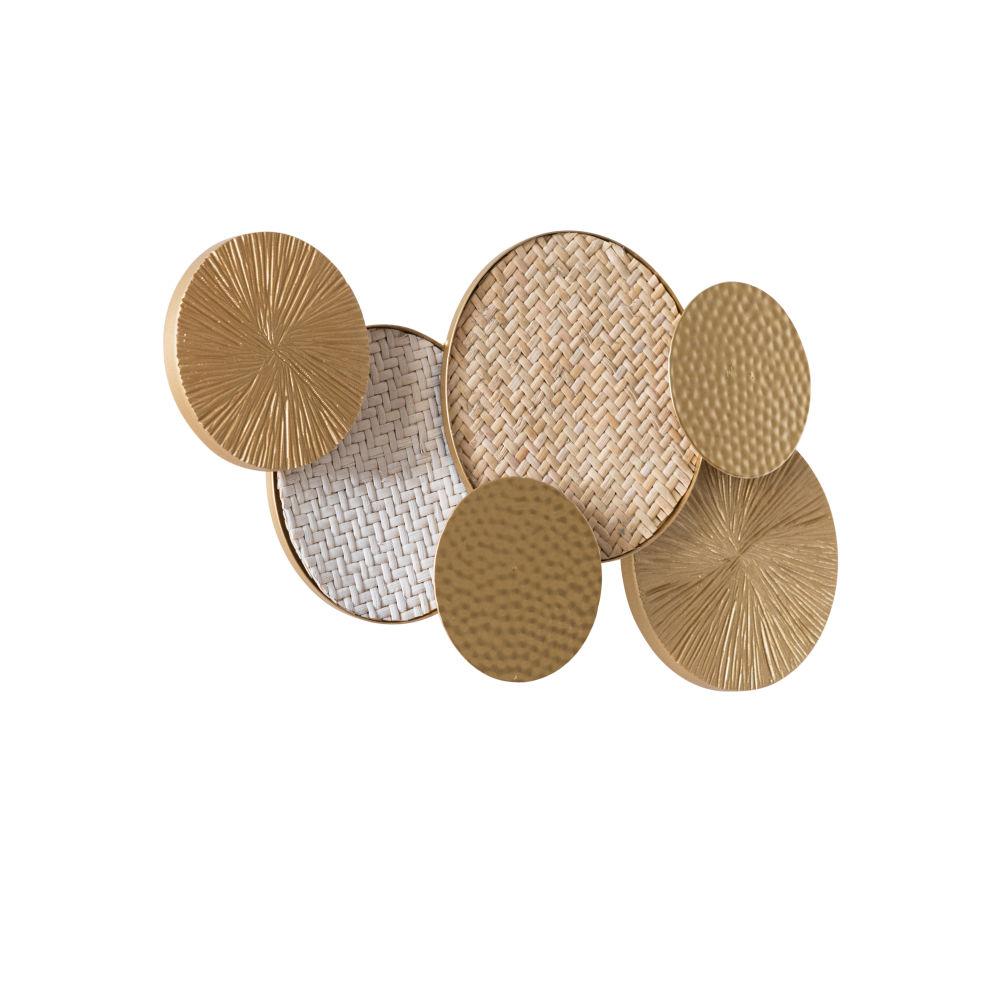 Applique disques en métal doré et rotin